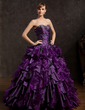 Ball-Gown Sweetheart Floor-Length Organza Quinceanera Dress With Beading Cascading Ruffles (021015148)
