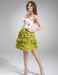 A-Line/Princess Sweetheart Knee-Length Chiffon Cocktail Dress With Beading Cascading Ruffles (016016844)