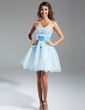A-Line/Princess Sweetheart Short/Mini Organza Homecoming Dress With Beading Appliques Lace (022015342)