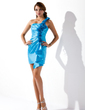 Sheath/Column One-Shoulder Short/Mini Charmeuse Homecoming Dress With Flower(s) Cascading Ruffles (022010800)