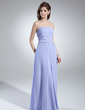 A-Line/Princess Strapless Floor-Length Chiffon Bridesmaid Dress With Ruffle Beading (007001111)