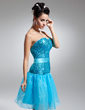 A-Line/Princess Sweetheart Knee-Length Organza Sequined Homecoming Dress With Beading (022015068)