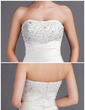 Balo Elbisesi Kalp Kesimli Şapel Kuyruk Satin Gelinlik Ile Büzgü Lace Boncuklama (002012055)