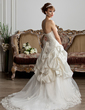 Ball-Gown Sweetheart Court Train Taffeta Tulle Wedding Dress With Ruffle Lace Beading (002013804)