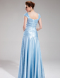 A-Line/Princess Floor-Length Charmeuse Evening Dress With Ruffle Beading (017019555)