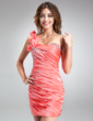 Sheath/Column One-Shoulder Short/Mini Taffeta Homecoming Dress With Ruffle Beading (022010654)