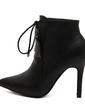 Suni deri İnce Topuk Pompalar Kapalı Toe Bot Ayak bileği Boots Ile Bağcıklı ayakkabı (088057554)