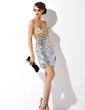 Sheath/Column Sweetheart Short/Mini Sequined Cocktail Dress With Beading (016006691)
