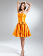 A-Line/Princess Sweetheart Short/Mini Taffeta Bridesmaid Dress With Bow(s) (022015547)