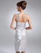 Sheath/Column One-Shoulder Knee-Length Charmeuse Cocktail Dress With Ruffle Beading Appliques Lace (016021058)