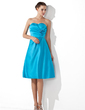 Empire Sweetheart Knee-Length Satin Bridesmaid Dress With Ruffle Flower(s) (007000934)