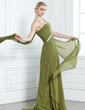 A-Line/Princess One-Shoulder Watteau Train Chiffon Evening Dress With Ruffle Beading Appliques Lace (017002582)