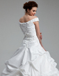 Ball-Gown Off-the-Shoulder Sweep Train Taffeta Wedding Dress With Ruffle Beading Sequins (002012899)