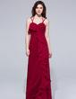 Sheath/Column Halter Floor-Length Chiffon Evening Dress With Cascading Ruffles (007037177)