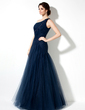 A-Line/Princess One-Shoulder Floor-Length Tulle Prom Dress With Ruffle Beading Appliques Lace (018017164)