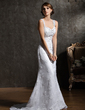 Trumpet/Mermaid Sweetheart Chapel Train Lace Wedding Dress With Beading Appliques Lace (002011465)