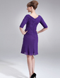 Sheath/Column V-neck Knee-Length Chiffon Mother of the Bride Dress With Ruffle (008006130)