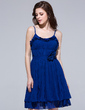 A-Line/Princess Scoop Neck Knee-Length Chiffon Homecoming Dress With Flower(s) Cascading Ruffles Pleated (007037181)