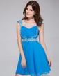 A-Line/Princess Sweetheart Short/Mini Chiffon Homecoming Dress With Ruffle Beading (022027062)