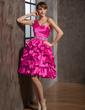 Çan/Prenses Tek-Omuzlu Diz Hizası Taffeta Mezunlar Gecesi Elbisesi (022014856)