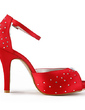 Women's Satin Cone Heel Peep Toe Platform Sandals With Rhinestone (047020176)