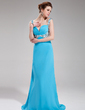 A-Line/Princess Sweetheart Sweep Train Chiffon Evening Dress With Ruffle Beading Sequins (017019570)