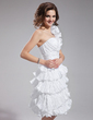 A-Line/Princess One-Shoulder Knee-Length Taffeta Homecoming Dress With Cascading Ruffles Pleated (022009303)