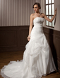 A-Line/Princess Strapless Chapel Train Satin Organza Wedding Dress With Ruffle Beading (002011798)