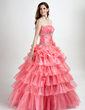 Ball-Gown Strapless Floor-Length Organza Quinceanera Dress With Beading Appliques Lace Cascading Ruffles (021015780)