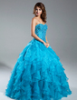 Ball-Gown Sweetheart Floor-Length Organza Quinceanera Dress With Beading Cascading Ruffles (021015343)