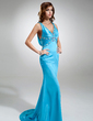 Trumpet/Mermaid V-neck Sweep Train Charmeuse Prom Dress With Ruffle Beading (018002513)