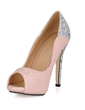 Women's Leatherette Sparkling Glitter Stiletto Heel Peep Toe Platform Sandals With Sequin (047020494)
