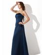 Çan/Prenses Askısız Uzun Etekli Satin Nedime Elbisesi Ile Büzgü Boncuklama (007001806)
