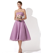 A-Line/Princess Strapless Knee-Length Chiffon Bridesmaid Dress With Ruffle (007001109)
