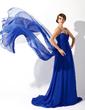 Empire Sweetheart Watteau Train Chiffon Evening Dress With Ruffle (017020709)
