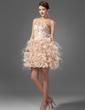 A-Line/Princess Sweetheart Short/Mini Satin Organza Homecoming Dress With Beading Feather Cascading Ruffles (022020669)