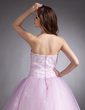 Ball-Gown Strapless Floor-Length Tulle Quinceanera Dress With Beading Appliques Lace (021016256)