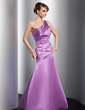 A-Line/Princess One-Shoulder Floor-Length Satin Evening Dress With Ruffle (017014789)