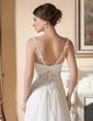 A-Line/Princess V-neck Watteau Train Chiffon Wedding Dress With Beading Appliques Lace Cascading Ruffles (002001665)
