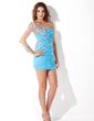 Wąska Jednoramienna Krótka/Mini Chiffon Tulle Sukienka na Zjazd Absolwentów Z Żabot Perełki (022013812)