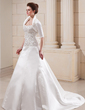 A-Line/Princess Sweetheart Chapel Train Satin Wedding Dress With Embroidered Beading Sequins (002012599)