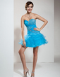 A-Line/Princess Sweetheart Short/Mini Tulle Homecoming Dress With Beading Sequins Cascading Ruffles (022010438)