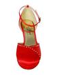 Women's Satin Stiletto Heel Closed Toe Platform Pumps With Buckle Rhinestone (047057114)