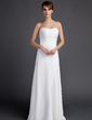 Sheath/Column Sweetheart Sweep Train Chiffon Wedding Dress With Ruffle (002011592)