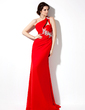 Sheath/Column One-Shoulder Sweep Train Chiffon Evening Dress With Ruffle Beading Appliques Lace Sequins (017002601)