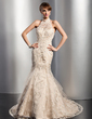 Trumpet/Mermaid High Neck Chapel Train Tulle Wedding Dress With Lace Beading Sequins (002012763)