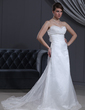 Empire Sweetheart Chapel Train Satin Organza Wedding Dress With Ruffle Flower(s) (002000065)