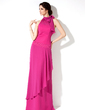 Sheath/Column Halter Floor-Length Chiffon Bridesmaid Dress With Ruffle Bow(s) (007001468)