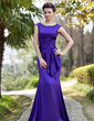 Trumpet/Mermaid Scoop Neck Sweep Train Charmeuse Mother of the Bride Dress With Beading Sequins Cascading Ruffles (008018981)