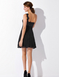 Empire One-Shoulder Short/Mini Chiffon Cocktail Dress With Beading Appliques Lace Pleated (016021055)